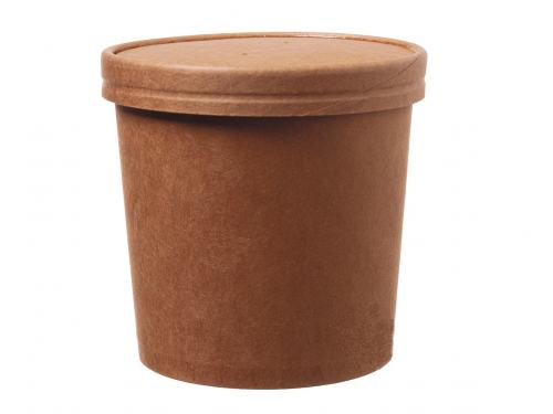 DeinPack Bio Einweg-Becher Speisebecher Papp-Becher to Go mit Deckel wei/ß I Kompostierbare Becher mit PLA Innenbeschichtung Suppen-Becher to Go Einweg Pappe I 50 stabile Karton-Becher 480 ml rund